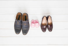 Woman`s, man`s, and children shoes Royalty Free Stock Image