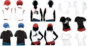 Woman's and man's t-shirts Stock Photos