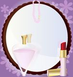 Woman's mirror. On an abstract background of a large round mirror in front of him lipstick, perfume and beads Stock Photography