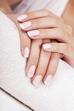 Woman's nails with french manicure. Royalty Free Stock Photography