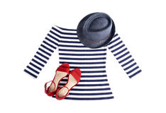 Woman`s Nautical Striped Top with Blue Straw Hat and Red Suede Sandals. Isolated on White Stock Image