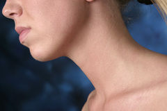 Woman's neck and chin. Woman's neck, chin, nose and lips on angle on blue and black background stock photography