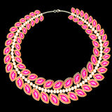 Womans necklace with pink jewels on black Stock Images