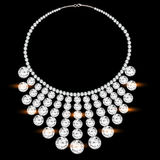 Womans necklace with precious stones on black Royalty Free Stock Image
