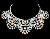 Woman`s necklace with precious stones Royalty Free Stock Photography