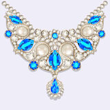Woman`s necklace with precious stones Royalty Free Stock Images