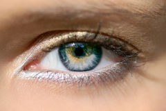 Woman`s open eye Stock Photography