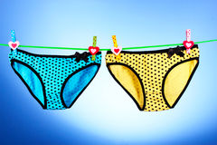 Woman's panties hanging Stock Photos
