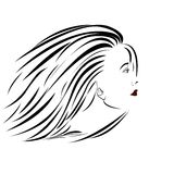 Woman's portrait. Sideview portrait illustration of an attractive woman Royalty Free Stock Image