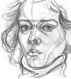 Woman`s portrait pencil sketch. Pencil sketch of a woman`s portrait Royalty Free Stock Photo
