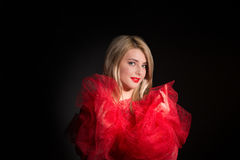 woman`s portrait in red dress Stock Image