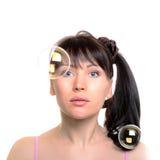 Woman's portrait with soap bubbles Stock Images
