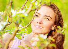 Woman's portrait in spring time Royalty Free Stock Images