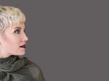 Woman`s profile portrait blonde with fashion hairstyle, haircut, makeup in grey shades. Beautiful woman with short hair blonde wearing khaki scarf on grey stock image