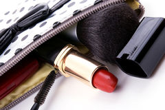 Woman's purse with different cosmetics Stock Photography