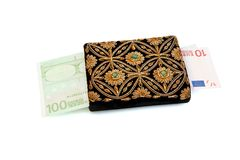 Woman's purse and euro bills isolated Royalty Free Stock Photo