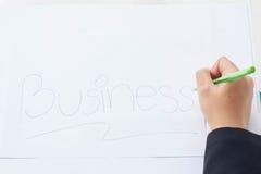 Woman& x27; s räcker med Pen On en vit bakgrund arkivbilder