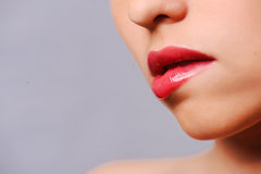 Woman's red lips Royalty Free Stock Images