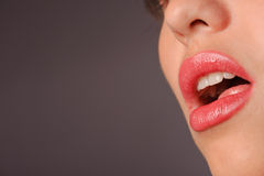 Woman's red lips Stock Photo