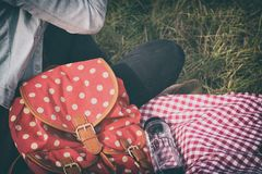 Woman's Red With Polka Dot Print Backpack Royalty Free Stock Images