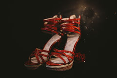 Woman's red sandals. In dark ambient with red rose Stock Photography