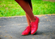 Woman's red shoes Royalty Free Stock Photography