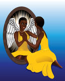 Woman S Reflection Yellow Dress Royalty Free Stock Photo