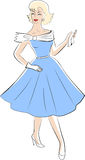 Woman from 50s. Retro fashion woman from 50s Royalty Free Stock Photo