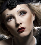 Woman's retro revival portrait. 30's of the XX century. Professional makeup stock photography