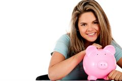 Woman's savings Stock Photo