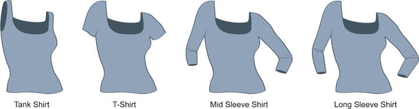 Woman's Shirt. Vector illustration of 4 Styles of a woman's shirt: tank; t-shirt; mid-length sleeve; long sleeve Royalty Free Stock Photography