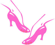 Woman's shoe. Woman's pink shoe with little red stars Royalty Free Stock Photography