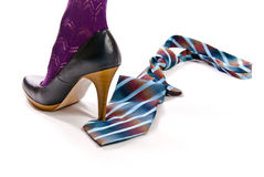Woman's shoe on high heel tread colorful tie Stock Image