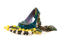 Woman's shoes with jewelry Royalty Free Stock Photo