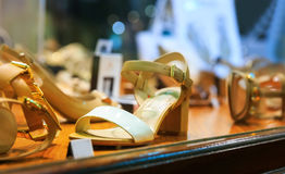 Woman's shoes in the shop Stock Images
