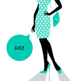Woman's silhouette image in blue Royalty Free Stock Image
