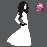 Woman's silhouette in white dress Stock Images