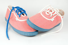 Woman's sneakers. With blue and white shoe strings Royalty Free Stock Photography