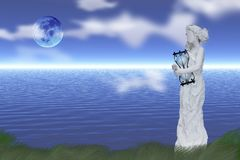 Woman`s statue with hourglass. At the shore of endless ocean. Full moon in clear sky vector illustration