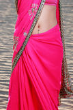 Woman's Stomach Jewelry in Sari Royalty Free Stock Image