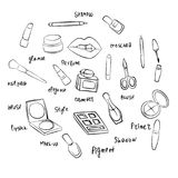 Woman`s stuff for beauty. Woman`s tools and stuff for beauty with words Royalty Free Stock Photos