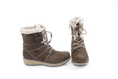 Woman's suede winter boots Stock Photo