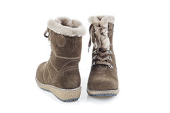 Woman's suede winter boots Stock Photography