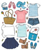 Woman's summer clothes and accessories Stock Image