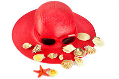 Woman`s summer red hat Stock Photos