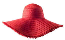 Woman`s summer red straw hat isolated Stock Photography