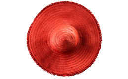 Woman`s summer red straw hat isolated Royalty Free Stock Photo