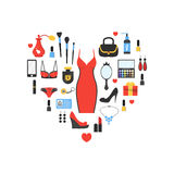 Woman`s things set in heart shape Royalty Free Stock Photos