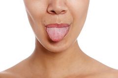Woman's tongue Stock Images