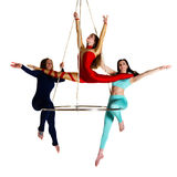 Woman`s trio on aerial luster Royalty Free Stock Photo